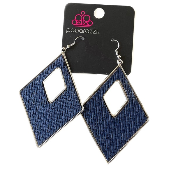 Paparazzi Woven Blue and Silver Earrings NWT
